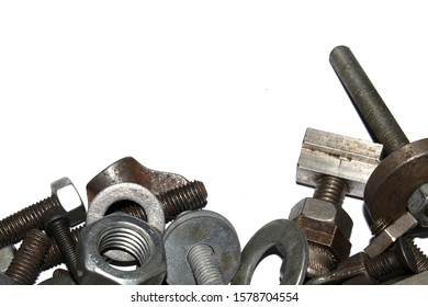 Collection of Old Bolt, Screws, Nuts Engineering Metal Tools on White Background