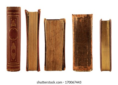 collection old books isolated on white background