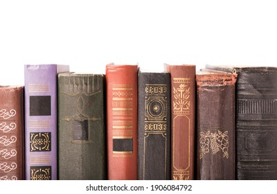 collection old books isolated on white