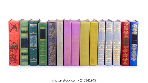 Collection of old books, isolated on white background