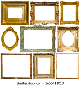Collection of old empty art frames in different shapes isolated on white