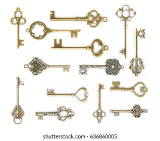 collection of  old key isolated on white background without shadow