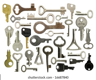 Collection of old keys isolated on white