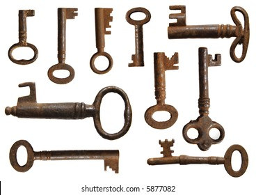 collection of old rusty keys (10 specimens)