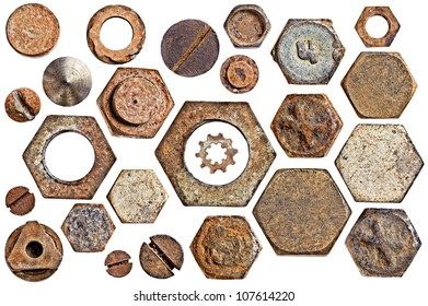 collection old rusty screw heads bolts nuts. isolated on white background