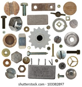 collection old screw heads, gears, old meta, bolts, steel nuts,old metal nail, isolated on white background