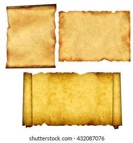 Collection of old scrolls and parchments. Isolated on white background. 3d render