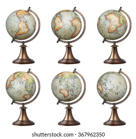 Collection of old style world globes isolated on white background. Showing all continents