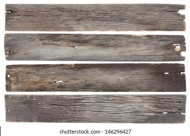 collection old wood plank isolated on white with clipping path