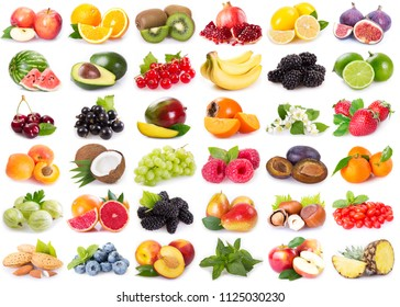 collection on fresh fruits on white background