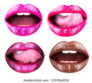 Collection open mouth. female lips collection isolated. Pink lip, Close up of sexy plump soft lips with dark brown lipstick, sexy. Red lips, tongue sexy. Set of womens lips with glossy lipsticks.