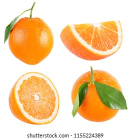 Collection of orange with leaf isolated on white