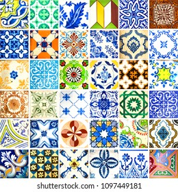 Collection of orange patterns tiles