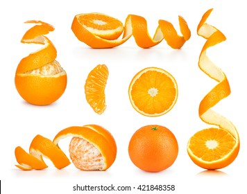 Collection of orange, slice and orange peeled skin isolated white background