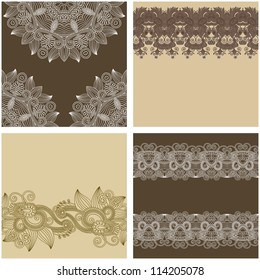 collection of ornamental vintage floral background with decorative flowers for your design, template frame pattern set for card. Raster version