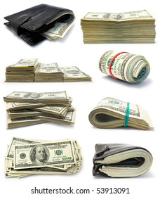Collection of packs of dollars isolated  on white background