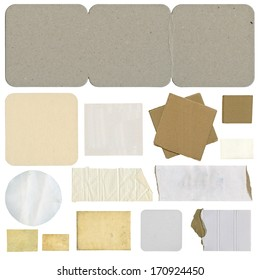 Collection of paper tears, isolated on white background