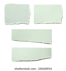 Collection of paper tears, isolated on white.  Pastel green.