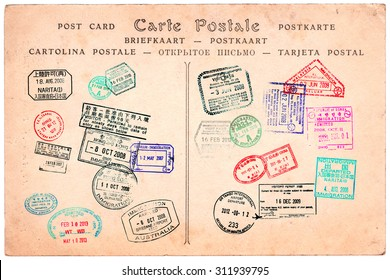 Collection of passport stamps on a vintage postcard background