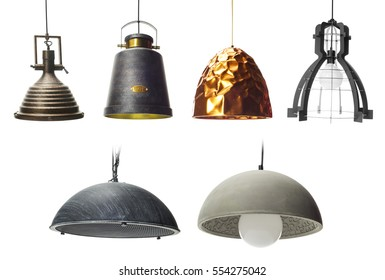 Collection of  pendants isolated on white, Set of Pendant light lamps isolated