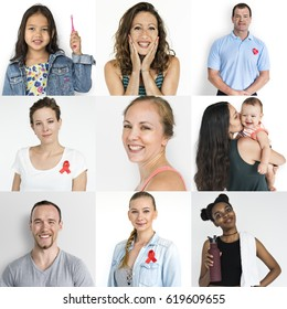 Collection of people with red ribbon for HIV/AIDS awareness