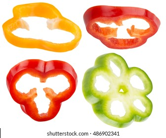 collection of pepper slices isolated on the white background
