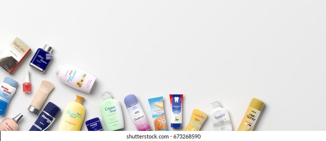 Collection of personal care productss on white background. 3d illustration