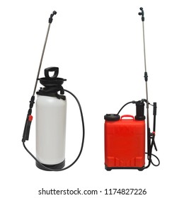Collection pesticide, herbicide sprayer for working in the garden and vegetable garden isolated on a white background. Manual, for the destruction of pests and insects