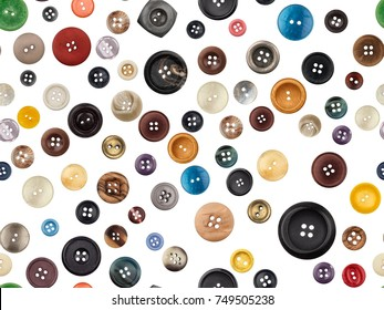 Collection of photographed buttons in different sizes and colors on a white background. Seamless image to be repeated endlessly.