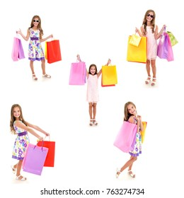 Collection of photos adorable little girl child holding shopping colorful paper bags isolated on a white
