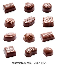 Collection of photos assortment of chocolate candies sweets isolated on a white background