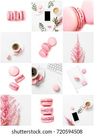 collection of photos with coffee and pink pastel colored macaroons
