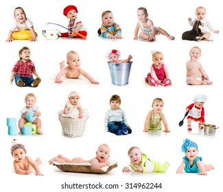 collection photos of cute little kids on a white background