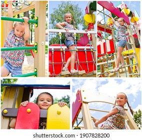 Collection of photos cute smiling little girl playing on playground equipment