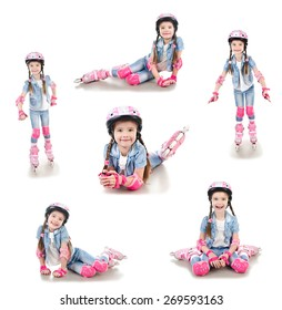 Collection of photos cute smiling little girl in roller skates and protective gear isolated on a white