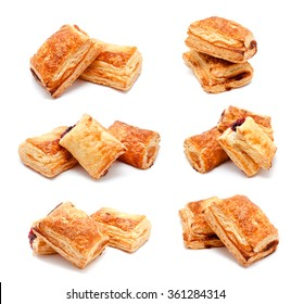 Collection of photos fresh puff pastries isolated on a white background