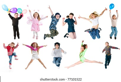 Collection photos of jumping kids. Studio shot