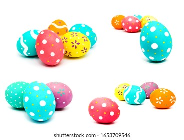 Collection of photos perfect colorful handmade painted easter eggs isolated on a white background