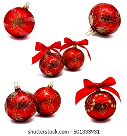 Collection of photos perfect red christmas balls with ribbon isolated on a white background