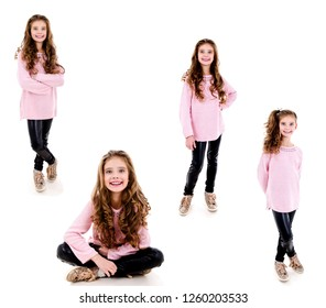 Collection of photos portrait of adorable smiling little girl child isolated on a white