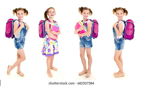 Collection of photos smiling happy school girl child with backpack and books isolated on a white background