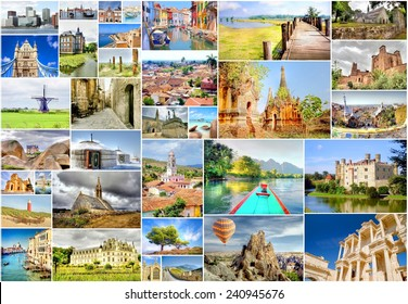 collection of photo's with travel destinations from all over the world