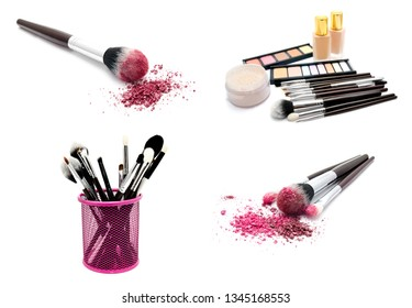 Collection of photos various set of professional makeup brushes and cosmetics and palette of colourful eye shadows isolated over white background