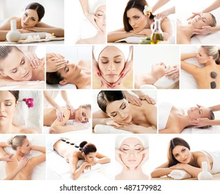 Collection of photos with women having different types of massage over isolated background.