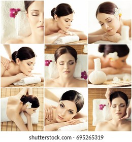 Collection of photos with women having different types of massage. spa, wellness, health care and aroma therapy collage.
