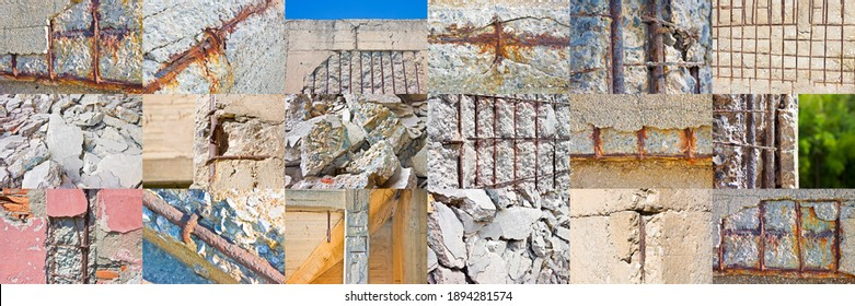 Collection of pictures about old reinforced cracked concrete structure with damaged and rusty metallic reinforcement bars.