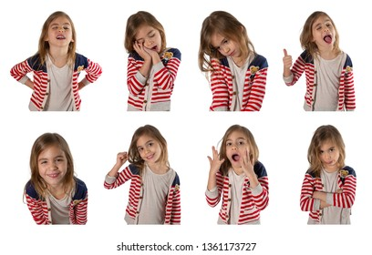 Collection of pictures of a cute girl makes different expressions - satisfied, tired, happy, smiling, shy, embarrassed, surprised. Photographed on a white background.