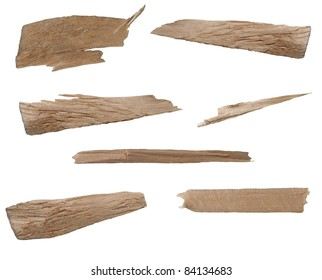 Collection pieces of broken planks of beech isolated on white background, texture