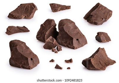 Collection of pieces of dark chocolate isolated on white background. With clipping path.