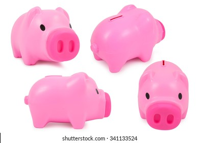 collection of  piggy bank isolated on white